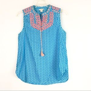 J. Crew Factory Printed Embroidered Tassel Top